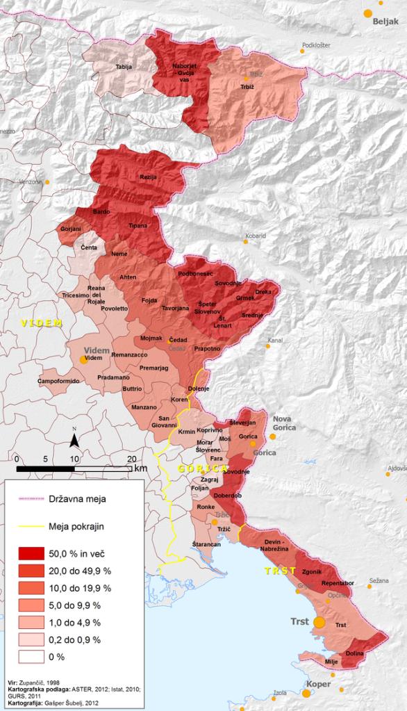 Odstotek Slovencev po občinah v FJK