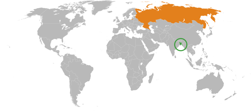 Razlika v velikost med Rusijo in Bangladešem