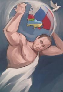 Putin kot Atlas. Uradna režimska propaganda v Rusiji (ne, ne šalimo se).
