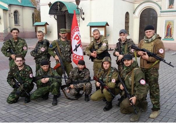 Skupina prostovoljcev, pripadnikov organizacije Ruska nacionalna enotnost