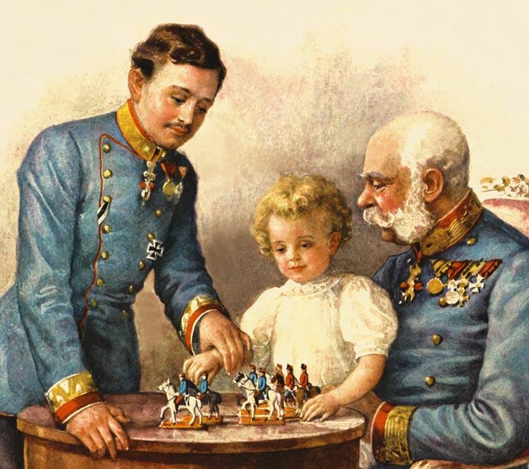 Njegovo cesarsko in kraljevo veličanstvo Franc Jožef I. ter nadvojvoda Karel učita mladega Otta igrati šah.